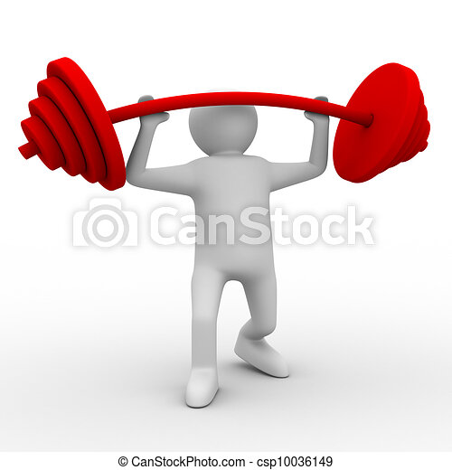 weight-lifter lifts barbell on white. Isolated 3D image - csp10036149