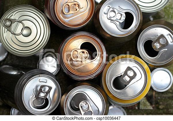 aluminum cans background - csp10036447