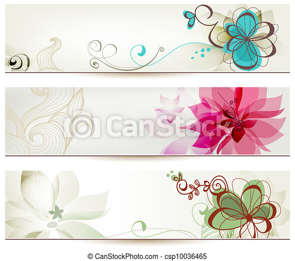 Floral banners in retro style - csp10036465