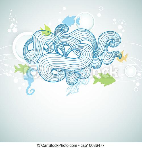 Abstract Life Drawing Abstract Sea Waves And Marine