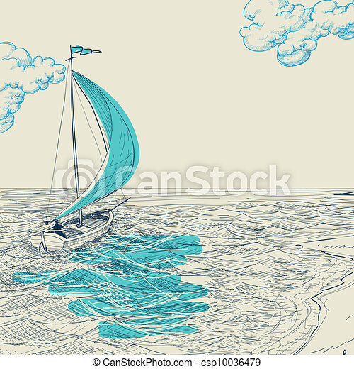 Sailing vector background - csp10036479