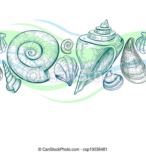 Sea shells vector seamless pattern - csp10036481