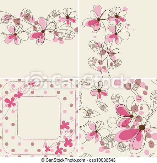 Vector floral cards and seamless patterns - csp10036543
