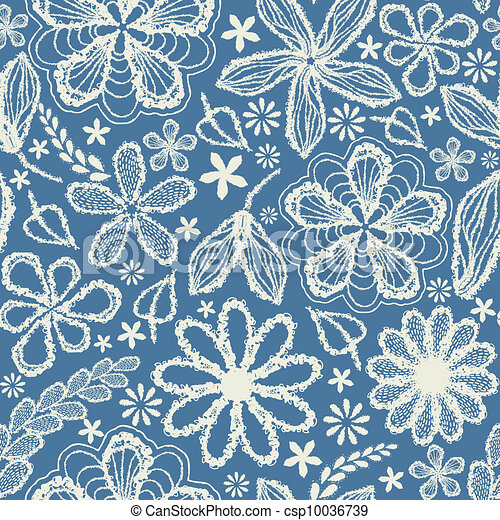 Seamless shabby floral hand-drawn curly pattern  - csp10036739