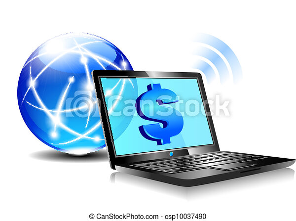 Banking online Pay by internet Doll - csp10037490