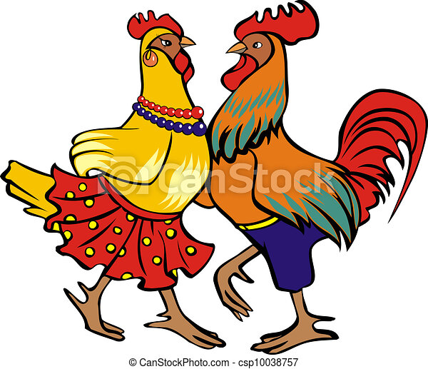 Dancing cock and hen - csp10038757