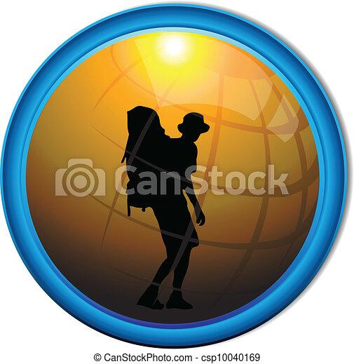 Silhouette of a traveler tourist - csp10040169