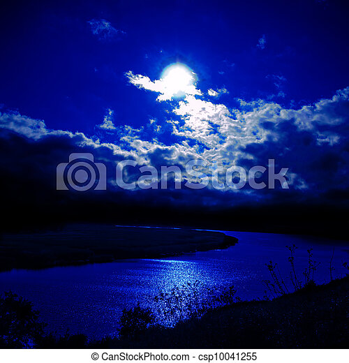 moonlight over river - csp10041255