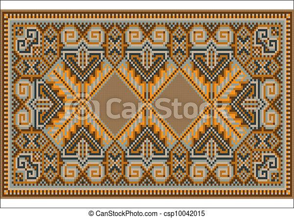 Clip Art Vecteur de oriental, tapis, chaud, orange, brun ...