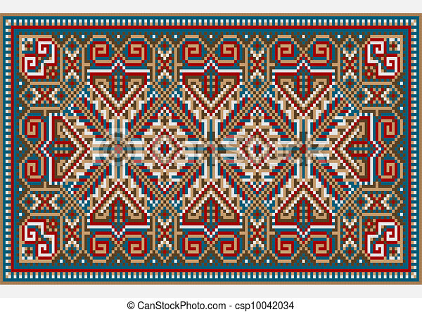 Vectors of design ethnic rug in bright colors picture of for Drawing of carpet design
