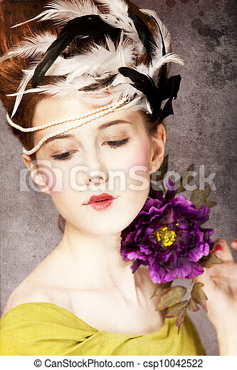 Redhead girl with Rococo hair style and flower at vintage background. Photo in old style. - csp10042522