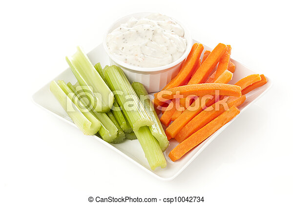 Ranch dressing with carrots and celery - csp10042734