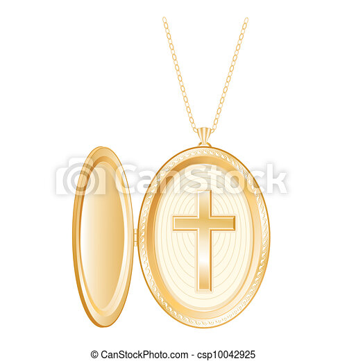 Christian Cross Gold Locket, Chain - csp10042925