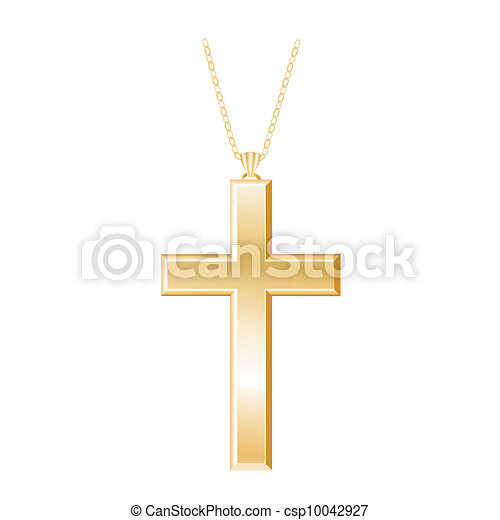Christian Cross, Gold Necklace  - csp10042927