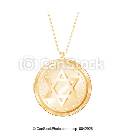 Star of David Gold Locket, Necklace - csp10042928