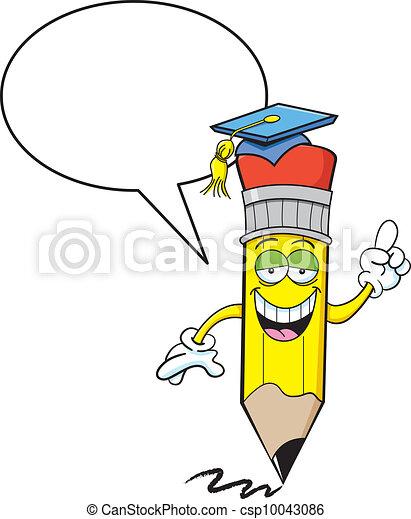 Pencil with a caption balloon - csp10043086