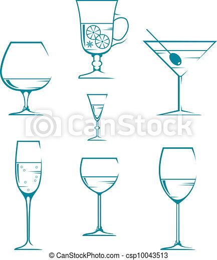 Set of symbols and icons glasses  - csp10043513