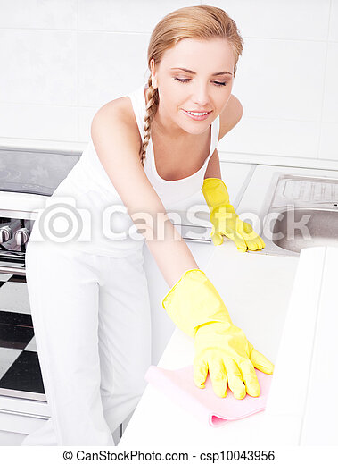 housewife cleaning furniture