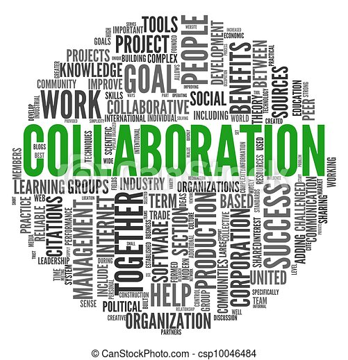 Collaboration concept in word tag cloud - csp10046484