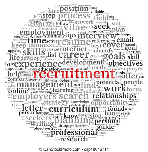 Recruitment concept in word tag cloud - csp10046714