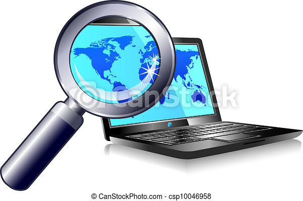 Clipart Vector of Laptop internet search and find ...