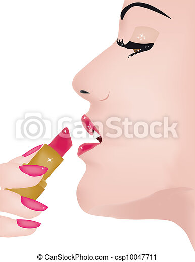Applying lipstick - csp10047711