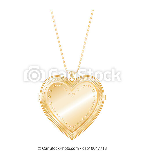Vintage Heart Locket Chain Necklace - csp10047713