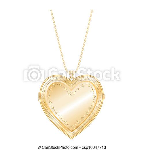 Vintage Heart Locket Chain Necklace - csp10047713