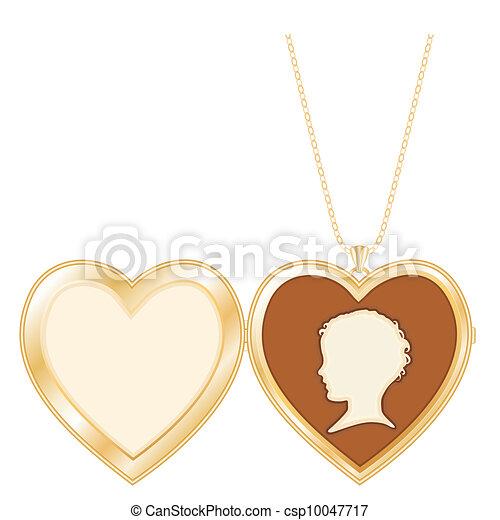 Antique Heart Locket Child's Cameo  - csp10047717