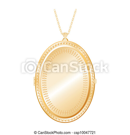 Vintage Gold Locket, Chain Necklace - csp10047721