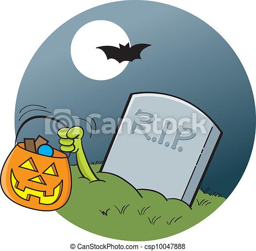 Vecteur de pierre tombale clair lune dessin anim illustration de csp10047888 - Pierre tombale dessin ...