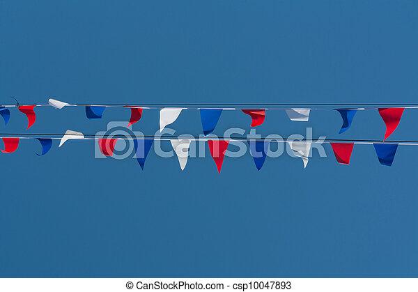 红, 白色, 蓝色, 彩旗和彩带 - csp10047893