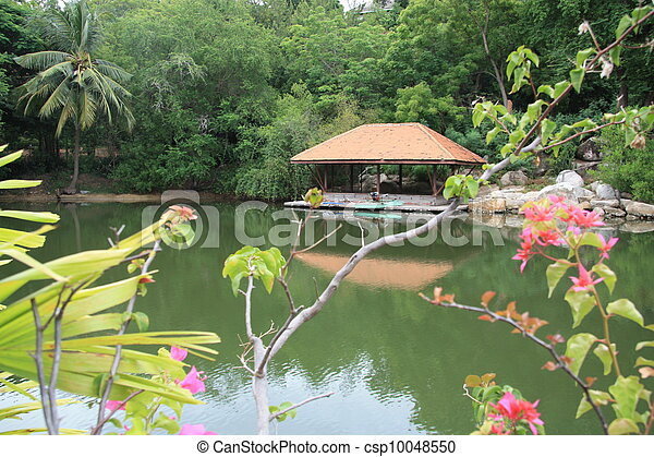 Pavilion at the tropical lake - csp10048550
