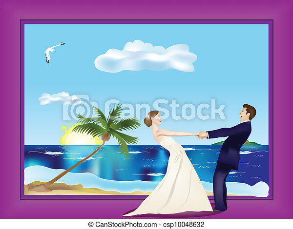 Dancing married couple on beach - csp10048632