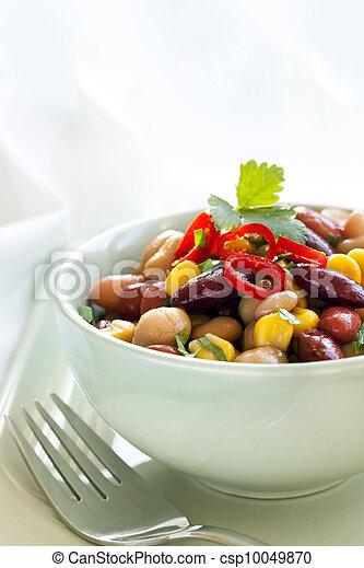 frijol, maíz, ensalada, chile - csp10049870