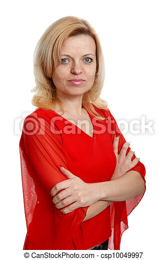 serious woman in a red blouse - csp10049997