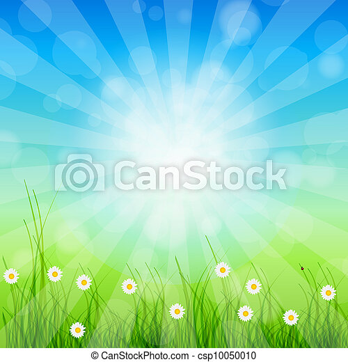 Summer Abstract Background with grass and chamomile against sunny sky. Vector illustration. - csp10050010