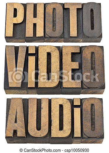 photo, video, audio words in wood type - csp10050930