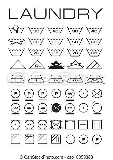 Illustration de symboles ensemble lavage ensemble de - Instructions de lavage symboles ...
