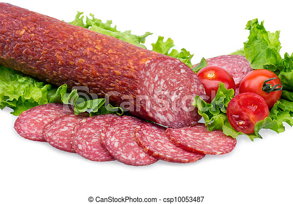 tasty red salami - csp10053487