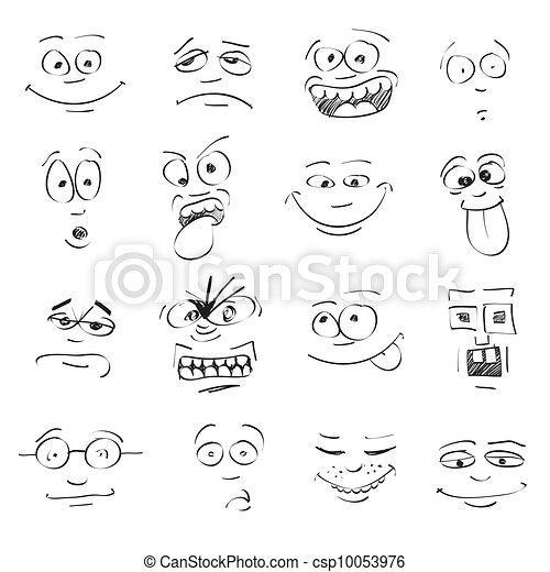 set of cartoon emotion on faces - csp10053976
