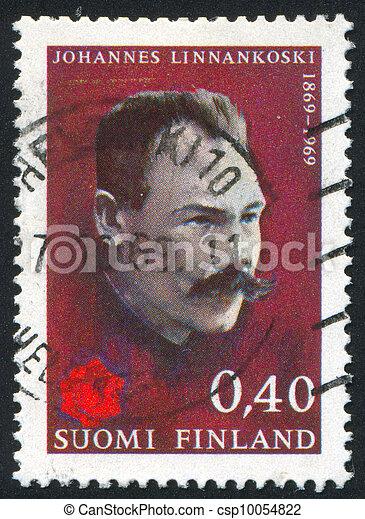 FINLAND - CIRCA 1969: stamp printed by Finland, shows Journalist Johannes Linnankoski, circa 1969 - csp10054822