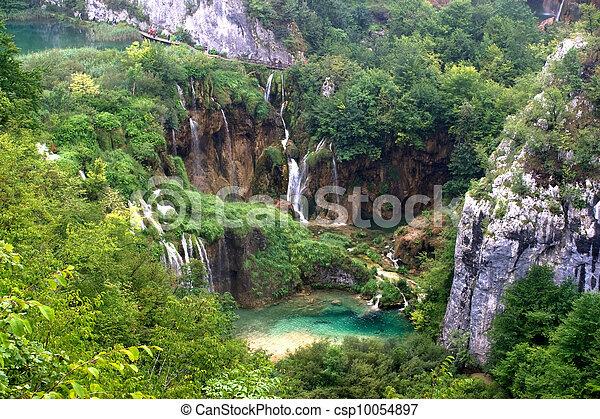 Plitvice waterfall landscape with lake - csp10054897