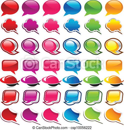 矢量-色彩丰富, 演说, 气泡, 图标