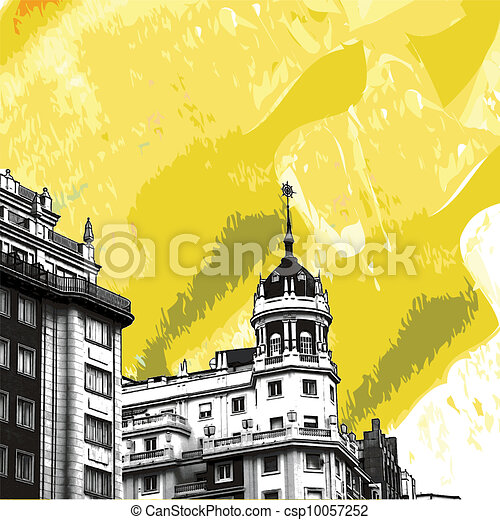 Historic buildings with lace fronts of Madrid - csp10057252