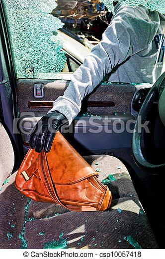 a thief stole a purse from car - csp10057418