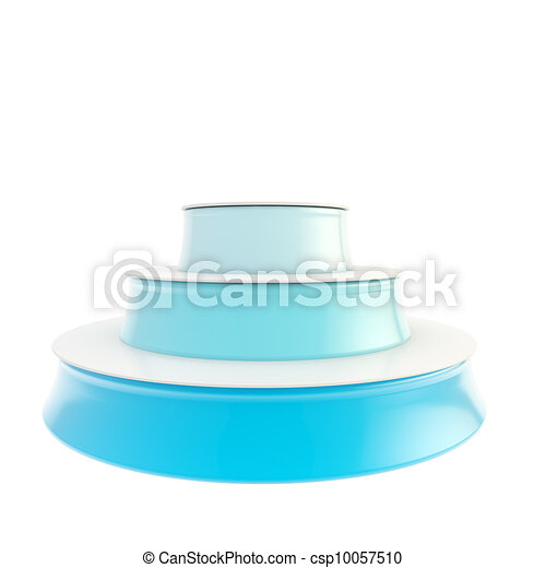 Three step blue glossy podium isolated - csp10057510
