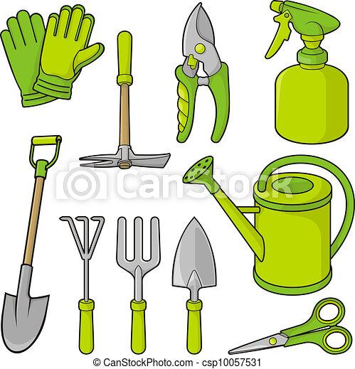 Vecteurs de jardinage ic nes a ensemble de outil for Dessin outils jardinage