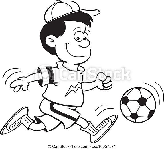 Boy Playing Soccer Drawing Boy Playing Soccer