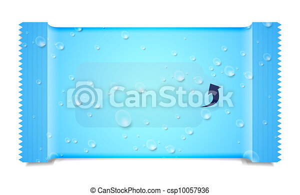Vector aqua packaging for wet wipes isolated on white. Eps 10 - csp10057936
